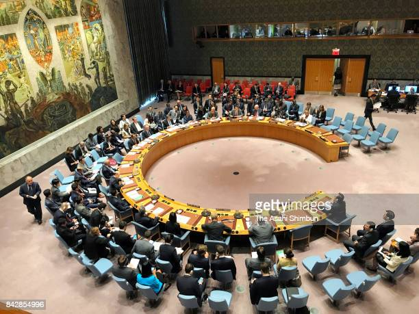A general view of a United Nations Security Council meeting on North Korea on September 4 2017 in New York City The securty council was holding its...