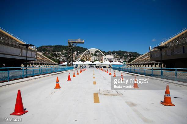 General view of a vaccination post in the Sambodromo on April 9, 2021 in Rio de Janeiro, Brazil. Health authorities have administered 22.6 million...