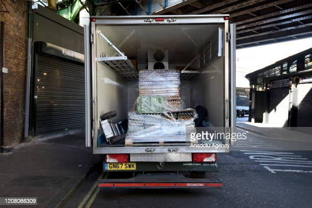 A general view of a van filled with Eggs in Borough Market on March 24 2020 in London England British Prime Minister Boris Johnson announced strict...