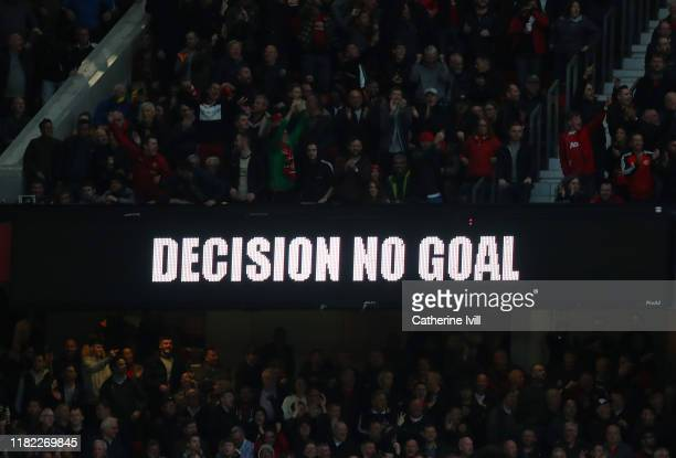 General view of a VAR sign displaying 'No Goal' during the Premier League match between Manchester United and Liverpool FC at Old Trafford on October...