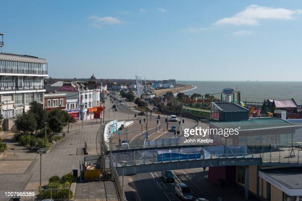 General view of a very quiet seafront on Mother's day March 22, 2020 in Southend on Sea, England. With the sunny weather, Mothering Sunday in...