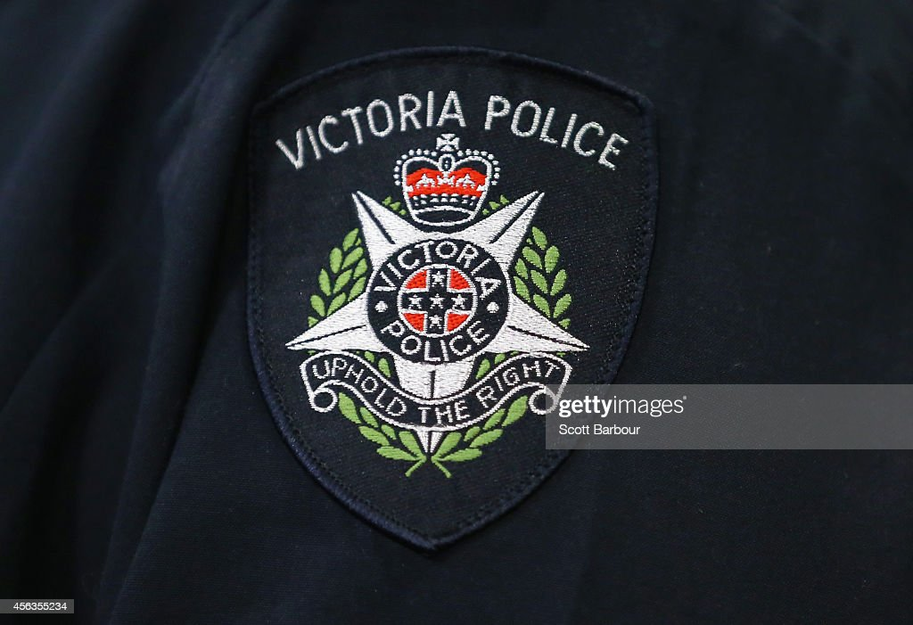 A general view of a Victoria Police badge during a press conference about the terrorism raids that took place in Melbourne this morning at Victoria Police Centre on September 30, 2014 in Melbourne, Australia. The counter terror raids were carried out in seven locations across Melbourne.