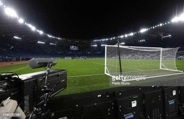 General view of a video camera inside the stadium ahead of the Serie A match between SS Lazio and SSC Napoli at Stadio Olimpico on December 20, 2020...