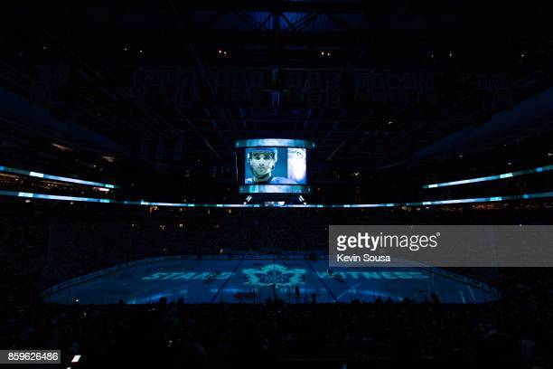 General view of a video featuring Nazem Kadri of the Toronto Maple Leafs prior to an NHL game against the New York Rangers on October 7 2017 at the...