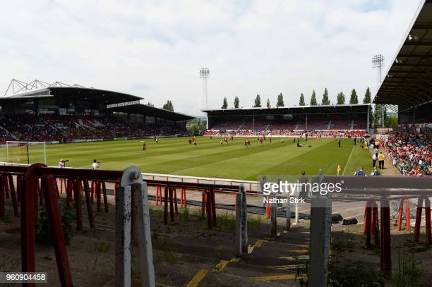 General view of a Wales training session a the Racecourse Ground on May 21 2018 in Wrexham Wales