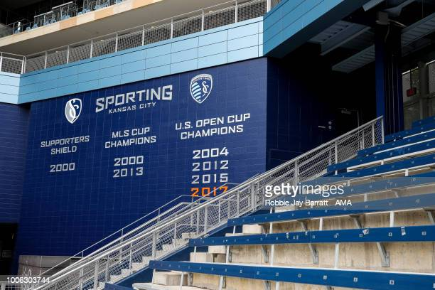 A general view of a wall showing the winning honours of Sporting Kansas City at Children's Mercy Park home stadium of Sporting Kansas City prior to...