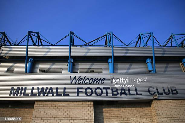 General view of a welcome sign on the stadium prior to the Sky Bet Championship match between Milwall and Bristol City at The Den on April 30, 2019...
