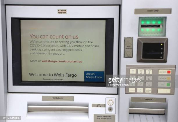 General view of a Wells Fargo ATM in Park Road Shopping Center during the coronavirus pandemic on April 07, 2020 in Charlotte, North Carolina. The...