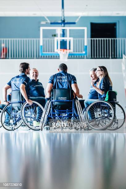 General view of a wheelchair basketball session during the Laureus Sport for Good Global Summit in partnership with Allianz at INSEP on October 17,...