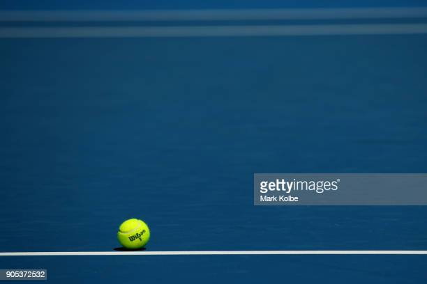A general view of a Wilson tennis ball at the Australian Open on day two of the 2018 Australian Open at Melbourne Park on January 16 2018 in...