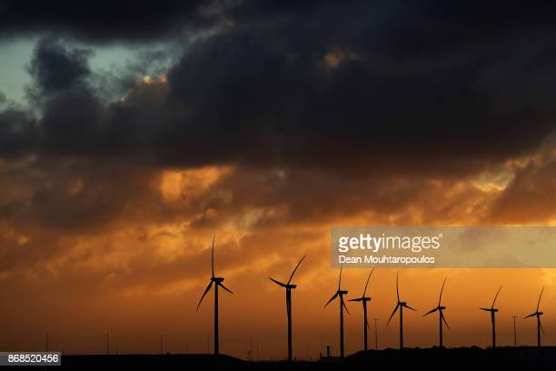 A general view of a wind farm using five turbines in the Port of Rotterdam on October 27 2017 in Rotterdam NetherlandsThe Port of Rotterdam is the...