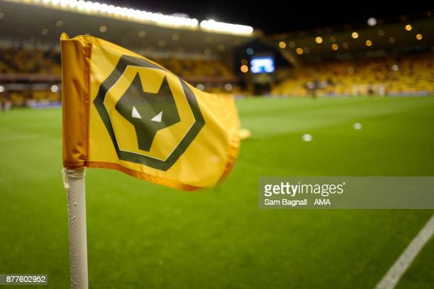 A general view of a Wolves corner flag at Molineux Stadium during the Sky Bet Championship match between Wolverhampton and Leeds United at Molineux...