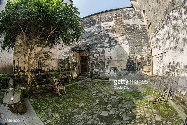 A general view of a yard of a Hui style architecture in Huangshan City on September 12 2014 in Huangshan China Huangshan is a city located on the...