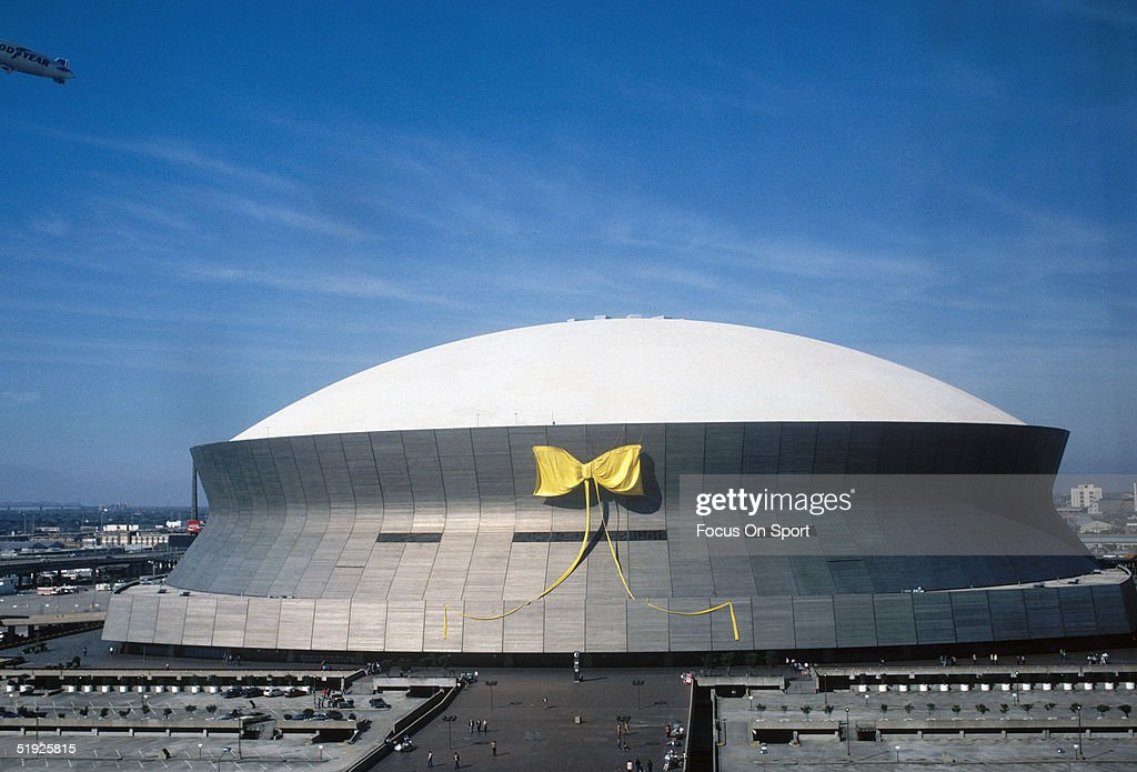 general view of a yellow ribbon is shown on the louisiana superdome picture id