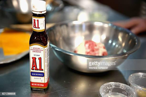 General view of A1 original sauce being used during the Food Network Magazine Cooking School 2016 at The International Culinary Center on November 5...