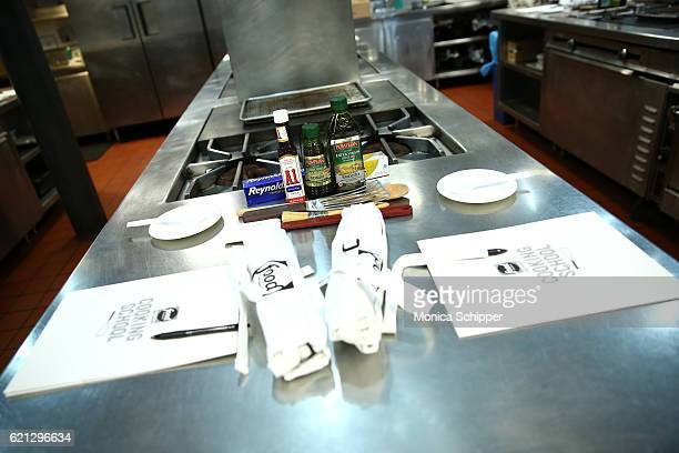General view of A1 Original Sauce Reynolds Wrap and Pompeian Virgin Oil being used during the Food Network Magazine Cooking School 2016 at The...