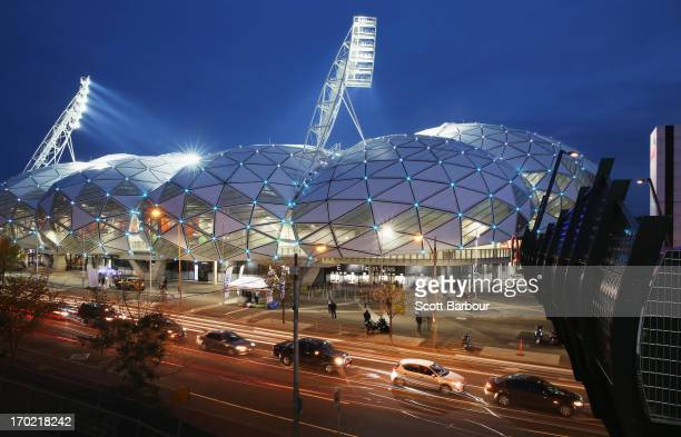 General view of AAMI Park before the round 13 NRL match between the Melbourne Storm and the Cronulla Sharks at AAMI Park on June 9, 2013 in...