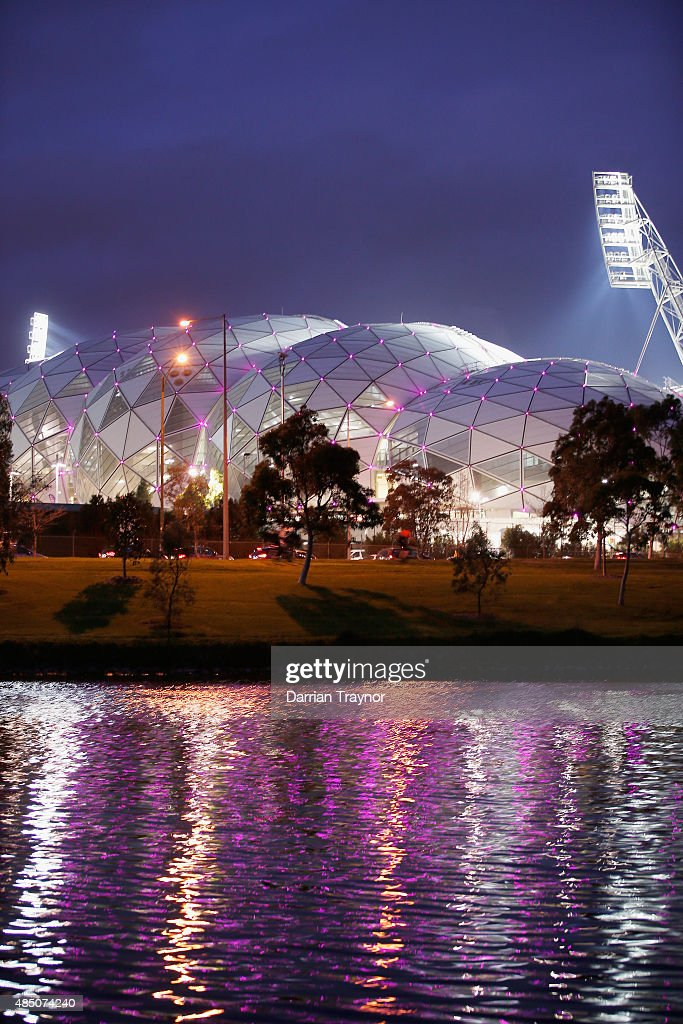 A general view of AAMI Park from the south bank of the Yarra River on August 24, 2015 in Melbourne, Australia.