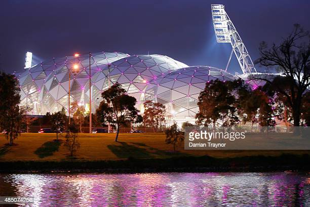 A general view of AAMI Park from the south bank of the Yarra River on August 24 2015 in Melbourne Australia