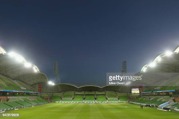 A general view of AAMI Park is seen before round 26 ALeague match between Melbourne City and the Central Coast Mariners at AAMI Park on April 7 2018...