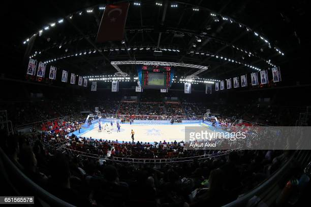 A general view of Abdi Ipekci Arena during the 2016/2017 Turkish Airlines EuroLeague Regular Season Round 25 game between Anadolu Efes Istanbul v...