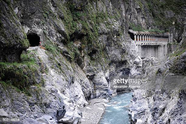 General view of above the Leewo Ho River inside Taroko National Park on January 2, 2016 in Hualien, Taiwan. The city of Hualien is the county seat of...