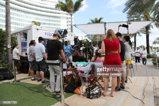 General view of Access Hollywood cabana at NAPTE 2013 at Fontainebleau Miami Beach on January 30 2013 in Miami Beach Florida