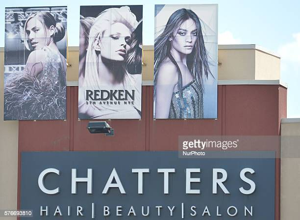 A general view of aChatters Hair Beauty Salon logo seen in South Edmonton Common a retail power centre located in Edmonton Alberta The flagship...