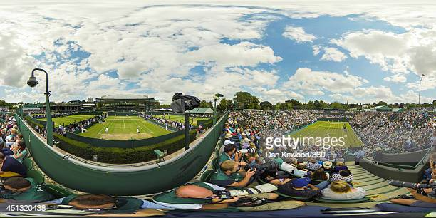 A general view of action across the courts on day 5 of the Championships Wimbledon 2014 on June 27 2014 in London England