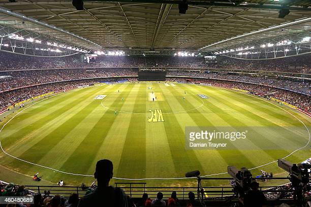 General view of action and spectators during the Big Bash League match between the Melbourne Renegades and the Melbourne Stars at Etihad Stadium on...
