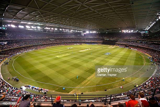 A general view of action and spectators during the Big Bash League match between the Melbourne Renegades and the Melbourne Stars at Etihad Stadium on...