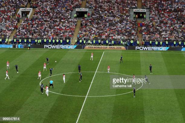 General view of action as Antoine Griezmann of France wins a header during the 2018 FIFA World Cup Final between France and Croatia at Luzhniki...