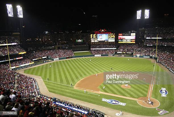 General view of action as Chris Carpenter of the St Louis Cardinals pitches against the Detroit Tigers during Game Three of the 2006 World Series on...