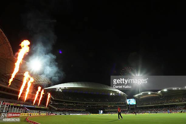 A general view of action as fireworks are set off in the background during the Big Bash League match between the Adelaide Strikers and the Perth...