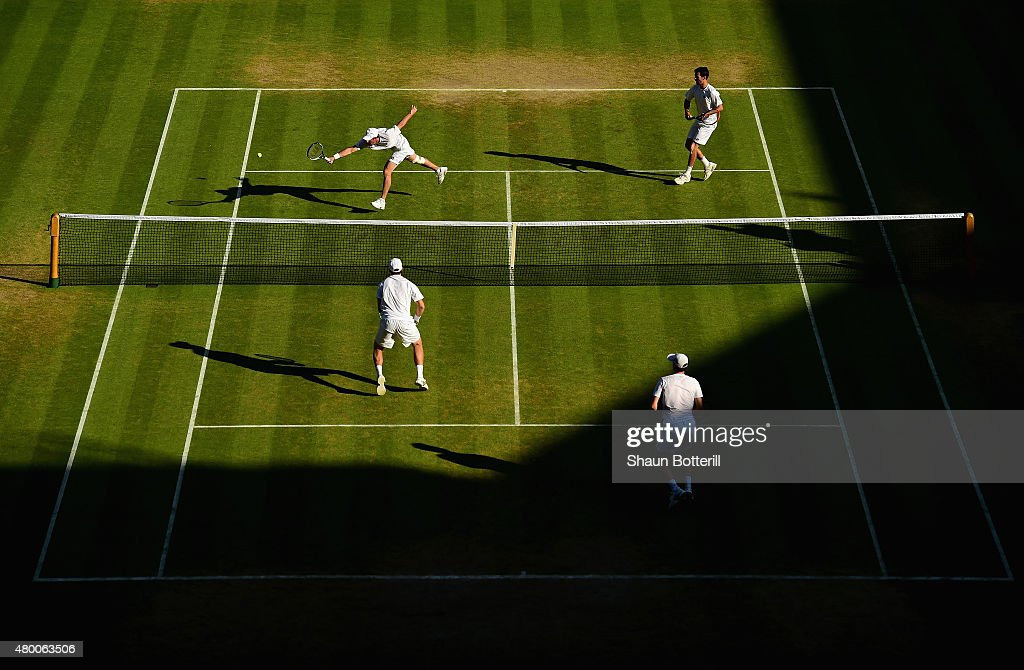 A general view of action as John Peers of Australia playing with partner Jamie Murray of Great Britain compete in the Gentlemens Doubles Semi Final match against Jonathan Erlich of Israel and Philipp Petzschner of Germany during day ten of the Wimbledon Lawn Tennis Championships at the All England Lawn Tennis and Croquet Club on July 9, 2015 in London, England.