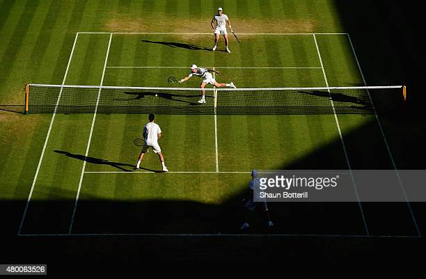 General view of action as John Peers of Australia playing with partner Jamie Murray of Great Britain compete in the Gentlemens Doubles Semi Final...