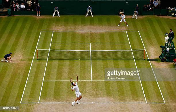 A general view of action as Roger Federer of Switzerland plays in the Final Of The Gentlemen's Singles against Novak Djokovic of Serbia on day...