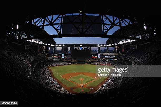General view of action as starting pitcher Archie Bradley of the Arizona Diamondbacks pitches against the Los Angeles Dodgers during the first inning...