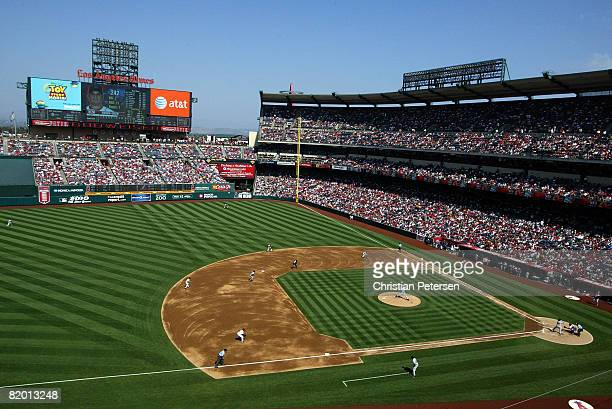 General view of action as starting pitcher Jon Garland of the Los Angeles Angels of Anaheim pitches against the Boston Red Sox at Angels Stadium on...