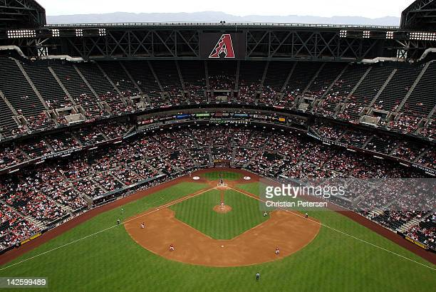 General view of action as starting pitcher Josh Collmenter of the Arizona Diamondbacks pitches against the San Francisco Giants during the first...