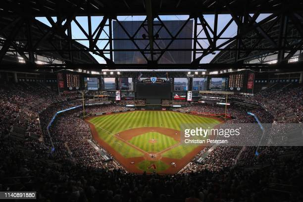 General view of action as starting pitcher Luke Weaver of the Arizona Diamondbacks pitches against the Boston Red Sox during the fifth inning of the...