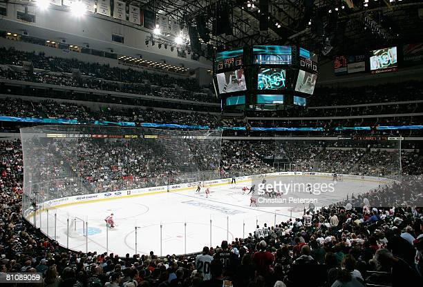 General view of action as the Dallas Stars face off against the Detroit Red Wings to start the second period of game four of the Western Conference...
