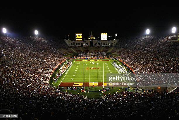 General view of action as the Oregon Ducks take on the USC Trojans on November 11 2006 at the Los Angeles Memorial Coliseum in Los Angeles California...