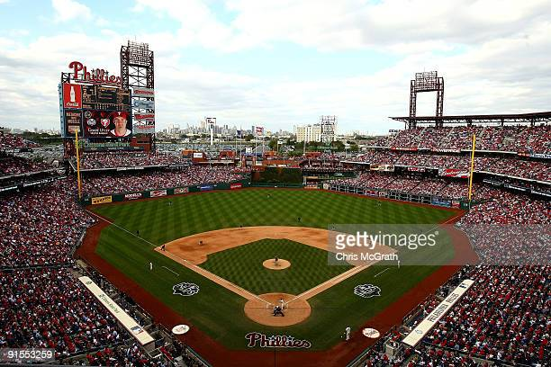 A general view of action as the Philadelphia Phillies bat against the Colorado Rockies in Game One of the NLDS during the 2009 MLB Playoffs at...