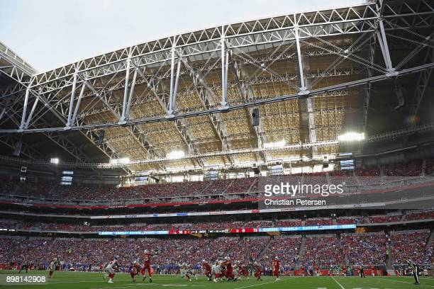 General view of action as wide receiver Jaron Brown of the Arizona Cardinals catches a pass during the second half of the NFL game against the New...