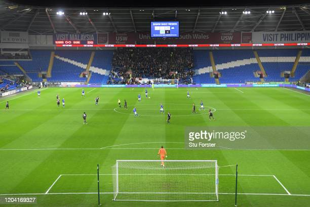 General view of action at Cardiff City stadium infront of a crowd of 4, 832 during the FA Cup Fourth Round Replay match between Cardiff City and...
