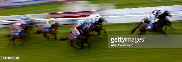 A general view of action at Fontwell racecourse on February 28 2016 in Fontwell England