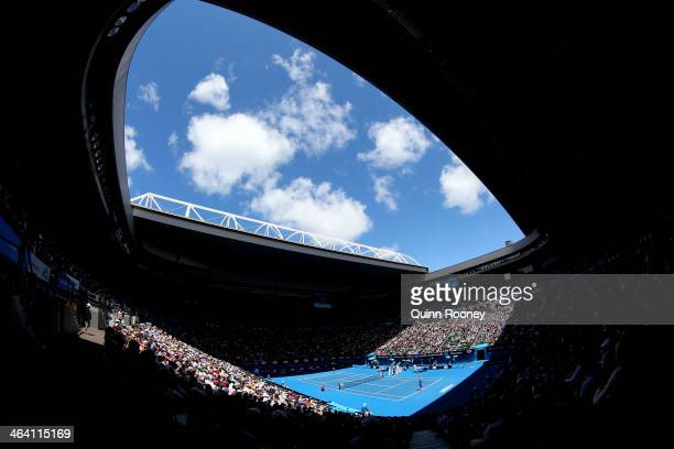 A general view of action at Rod Laver Arena during day nine of the 2014 Australian Open at Melbourne Park on January 21 2014 in Melbourne Australia