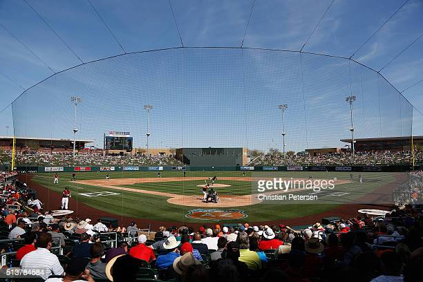 General view of action between the Arizona Diamondbacks and the Oakland Athletics during the spring training game at Salt River Fields at Talking...