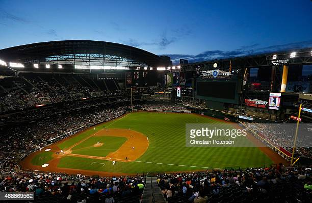 General view of action between the Arizona Diamondbacks and the San Francisco Giants during the MLB game at Chase Field on April 7 2015 in Phoenix...
